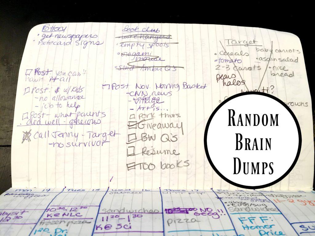 Random Brain Dump section of my Bullet Journal.