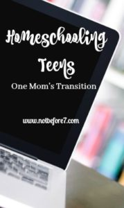Homeschooling teens is a huge transition from homeschooling little ones. This is one mom's journey and the lessons she learned.